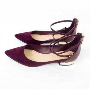 Aldo Wine Pointed Ankle Strap Zip Flats